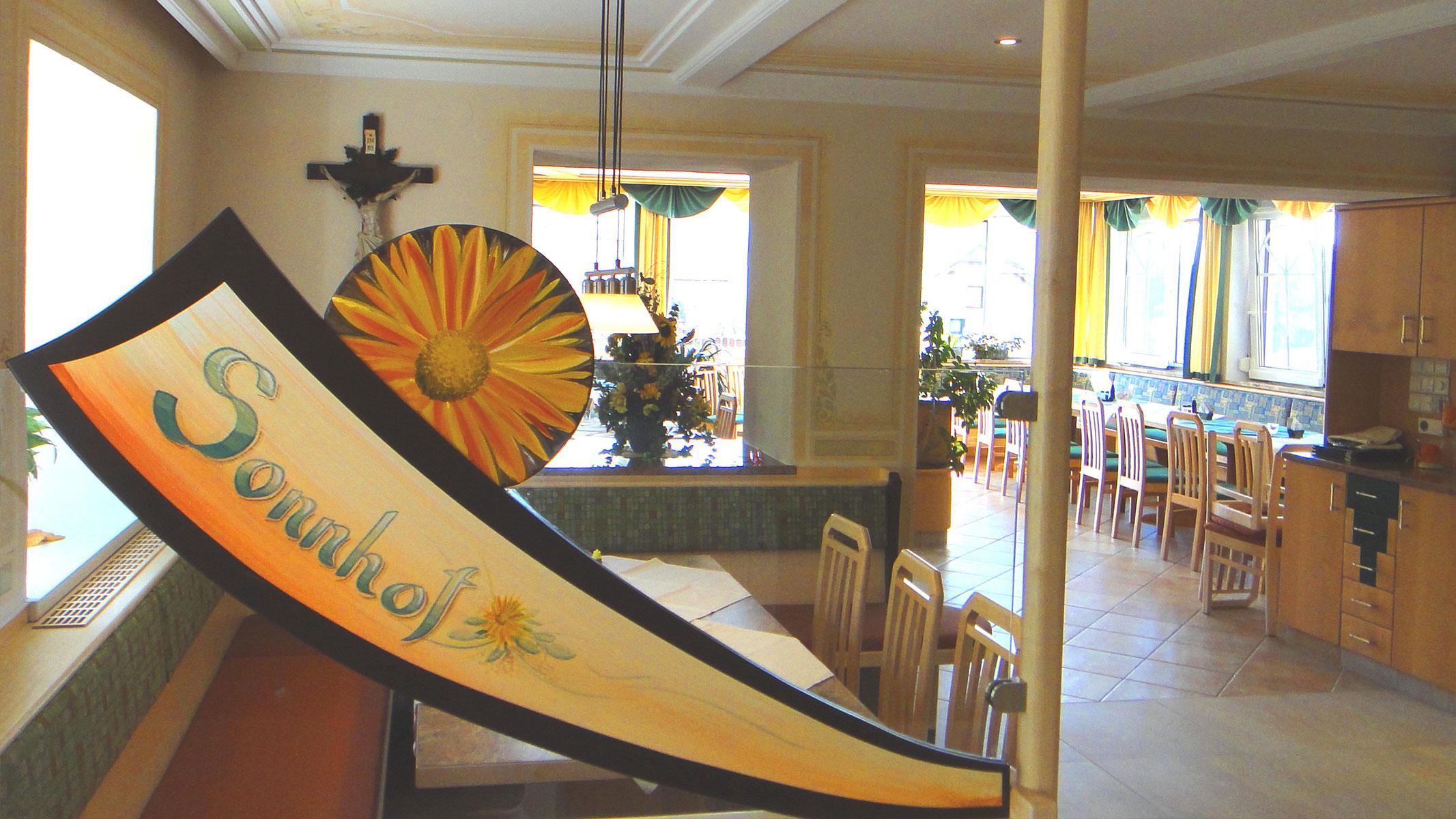 Speisesaal im Gasthof Sonnenhof