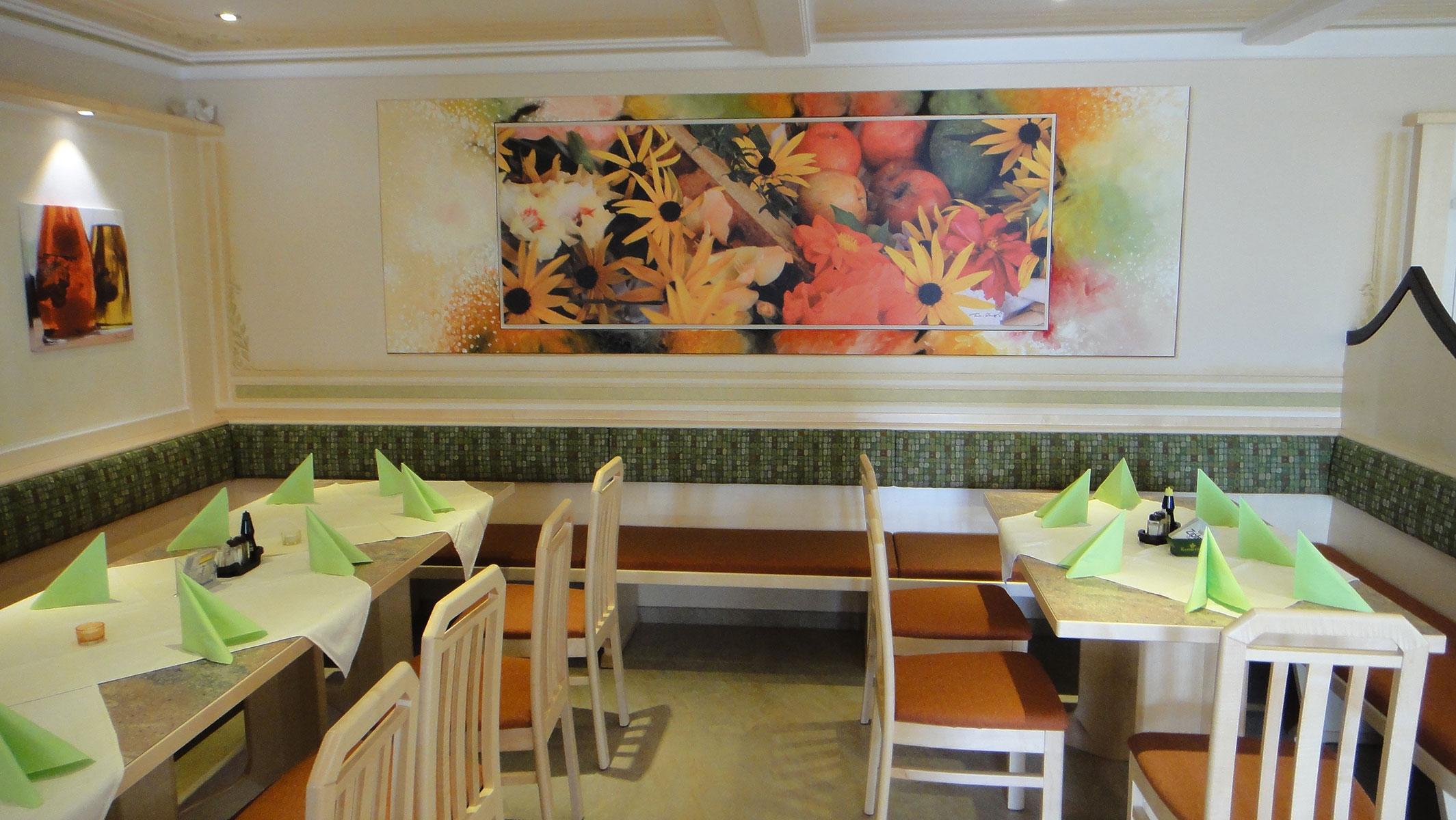 der gemütliche Speisesaal vom Gasthof Sonnenhof